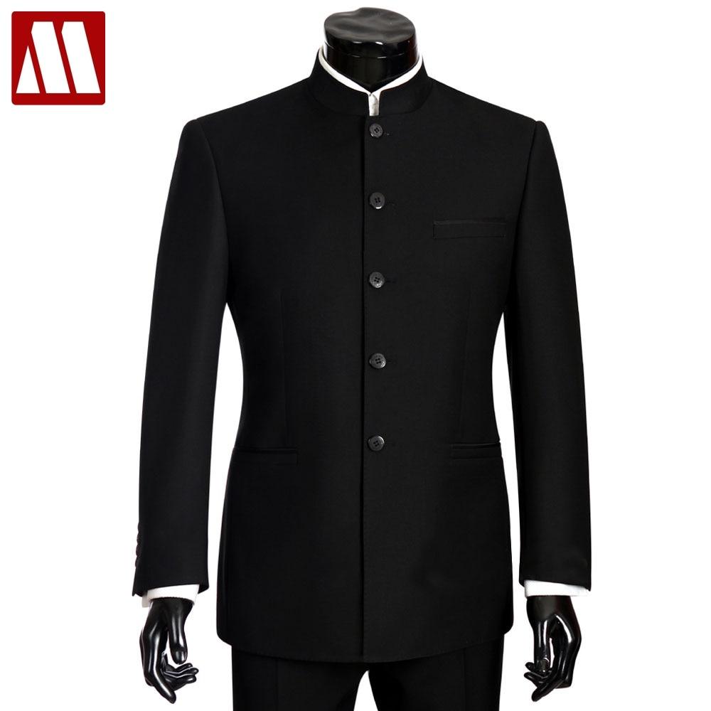 Бренд mydbsh Для мужчин костюмы Большие размеры китайский воротник-стойка мужской костюм Slim Fit Blazer Свадебные Терно смокинг 2 шт. куртка и штаны