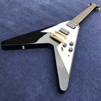 high Quality Factory Custom Flying V Electric guitar, Flying V shape in black color,Real photo showing