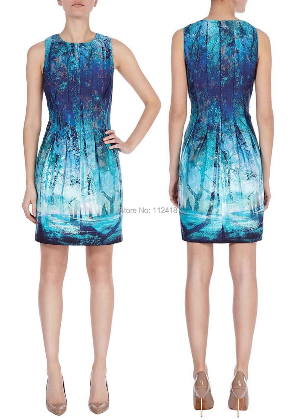 Fashion Print Women Macie Dress Elegant Draped Party Dresses 1487-in ...