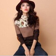 Стиль, Осень-зима, Женский пуловер с цветочным рисунком, свитер, тонкая водолазка, свитер с цветочным принтом