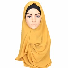 Malaysia Design Instant Plain Two Loops Bubble Chiffon Scarf Shawls Two Face Hijab Muslim 23 Colors Scarves 180*75cm