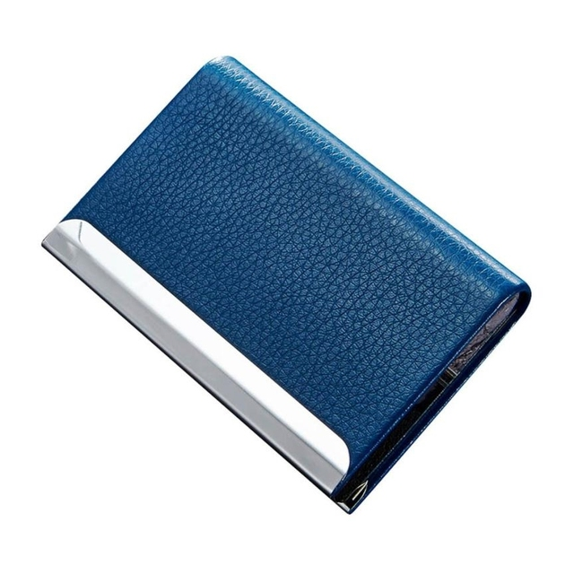 Men Women Pu Leather Name Card Bank Credit Holder Case Solid Hasp Holders Business