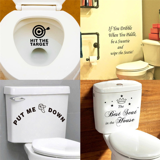 Funny 1 x Toilet Seats Art Wall Stickers Quotes Bathroom Decoration ...
