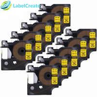 10 bloco compatível dymo etiqueta de rinoceronte industrial 1805431 preto no amarelo ind vinil permanente etiqueta fabricantes (24mm x 5.5 m)