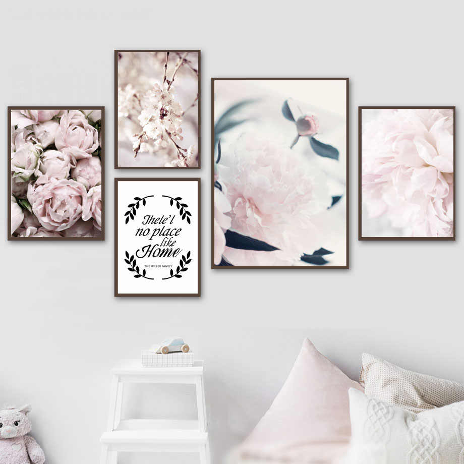 Flower Rose Peony Quotes Wall Art Canvas Painting Nordic Posters And Prints Wall Pictures Girl Baby Kids Room Bedroom Home Decor