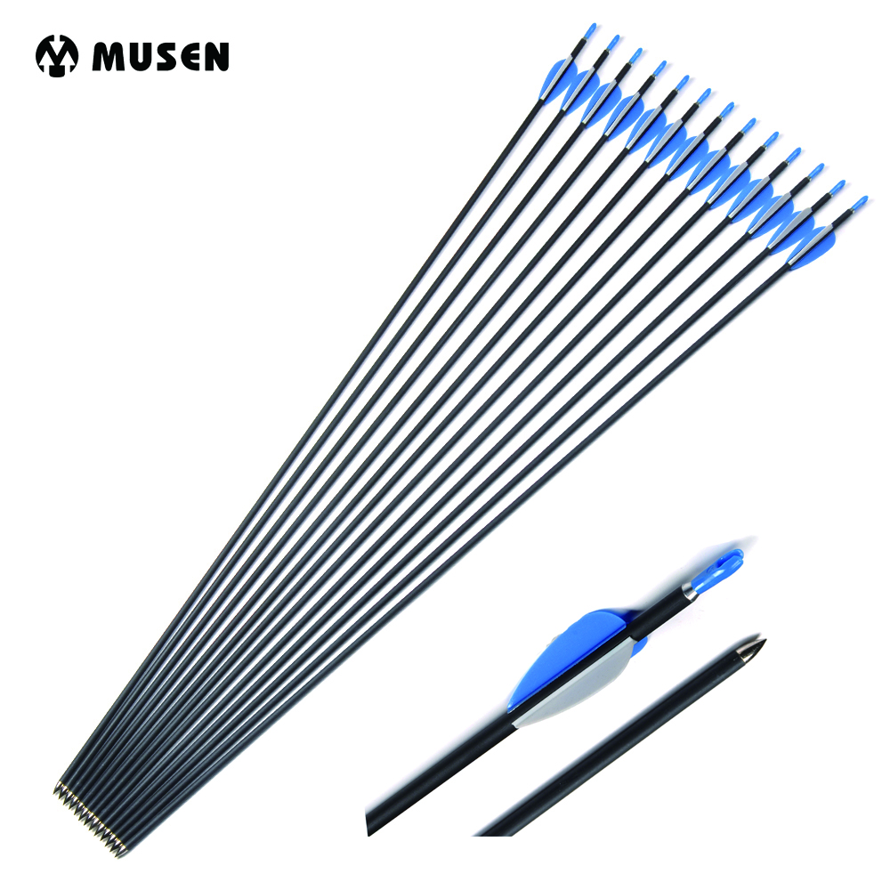 24pcs Archery Carbon Arrows 32 Inch Spine 1200 Out Diameter 5.6 Mm Arrows For Compound/Recurve Bow Hunting Arrows