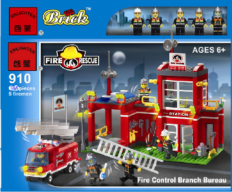 Enlighten Model building kits compatible with lego city fire rescue station 948 3D blocks Educational toys hobbies for children 605pcs city scaling ladder fire engines rescue truck 3d firefighter 908 model building blocks children toys compatible with lego