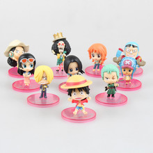 Anime 10PCS/SET One Piece Q Version Luffy Ace Mihawk Zoro Gekko Moria Marco Smoker  Mini PVC Figures Toys Brinquedos Models