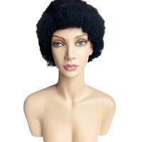 Волосы remy натуральные волосы 100% плотный афро кудрявый парик полный парик шнурка