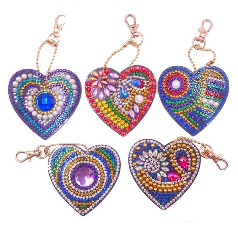 5pcs DIY Diamond Painting Keychain Full Drill Love Bag Hanging Ornaments Special Shaped Diamond Embroidery Cross Stitch