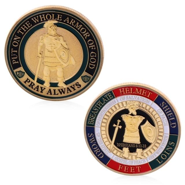 Chapado en oro poner en toda la armadura de Dios desafío conmemorativo recuerdo de monedas