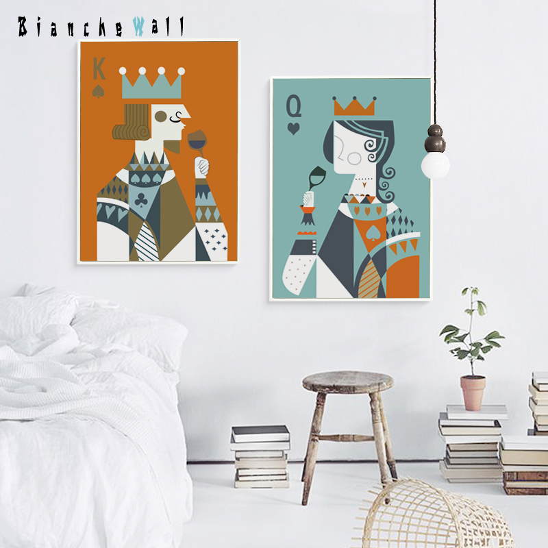Poker King Queen Love Minimalist Pair A4 Canvas Painting Art Print Poster Wall Paintings Home Decoration Wall Decor Leather Bag,Studio Apartment Design