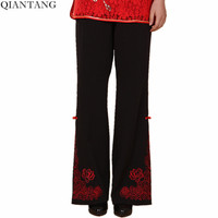 New Black Spring and Autumn Ladies Trousers Chinese Traditional Style Women's Pants Size S M L XL XXL XXXL 4XL 2991-1
