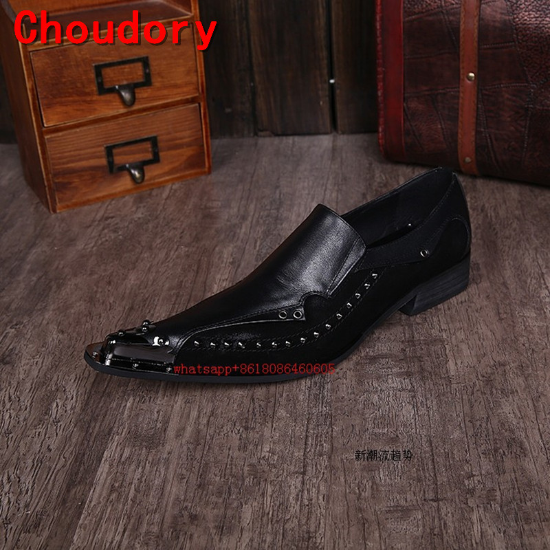 Choudory Sapato Masculino Mens Pointed Toe Dress Shoes Black Formal Italian Brands Loafers Rivets Luxury Shoes Men pointed metal toe mens shoes formal design patchwork men leather shoes with crystal hoops spring autumn sapato masculino social