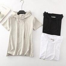 New Chic t shirt women black hooded t-shirt harajuku casual drawstring solid short sleeve 100% cotton top streetwear bbf tshirts