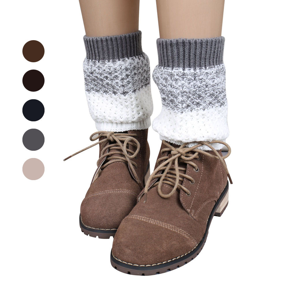 2016 New Fashion 1Pair Jacquard Knitted Leg Warmers Women Stretch Socks Boot Cover &Wholesale