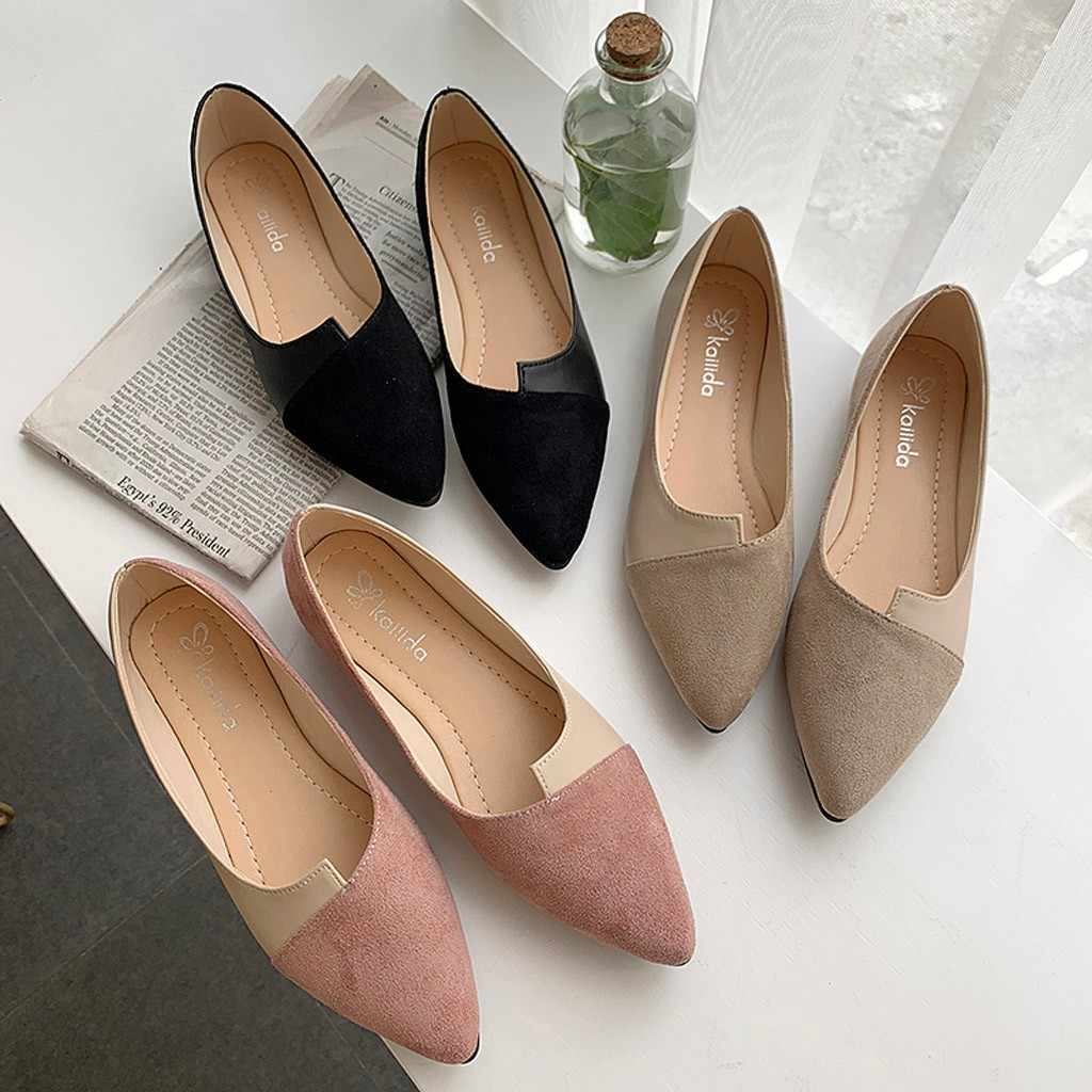Automne femmes 2019 nouvelles dames chaussures femme épissure couleur appartements mode bout pointu ballerine Ballet plat sans lacet chaussures plates femmes