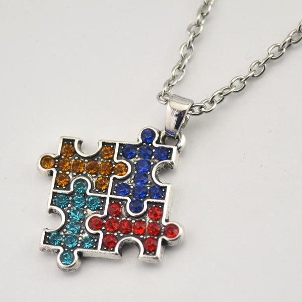 Mój kształt rodowane autyzm świadomość Puzzle Jigsaw kawałek Multicolor kryształ betonowa wisiorek modny naszyjnik biżuteria