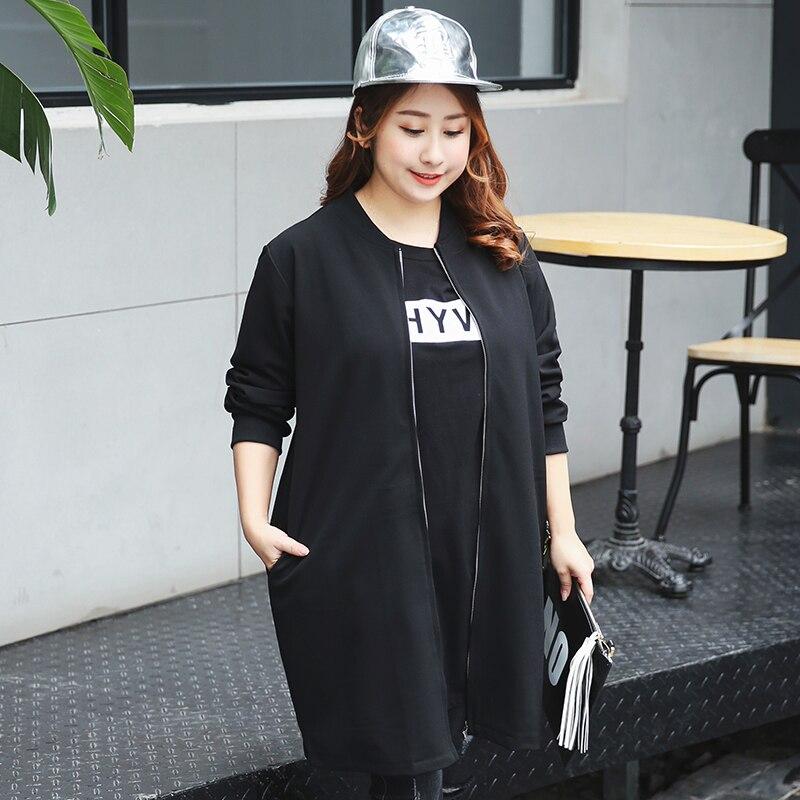 88fc7c42b Nova moda Coreano mulheres de grande porte 2017 primavera casaco feminino  tamanho uniforme de beisebol fino casaco longo 353 em Hoodies   Camisolas  de ...