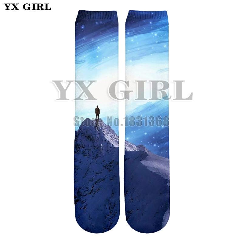 YX GIRL Men/Women Landscape/Space Backgrounds 3d Print funny Socks Harajuku Unisex Cool Cotton Long Socks