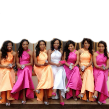 Elegant Fuchsia Cheap Mermaid Pleated Bridesmaid Dresses 2016 Long Orange Party Prom Maid of Honor Gowns vestido madrinha BR59