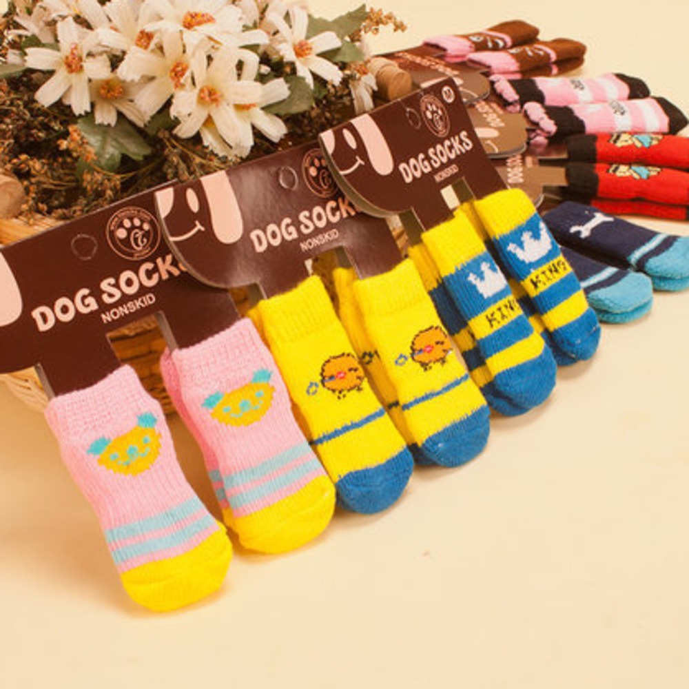 Pets cartoon hot sale clothes Dog Socks for High Quality Non-slip Bottom Puppy Feet Teddy Socks Articles 4 Only CW-YF15