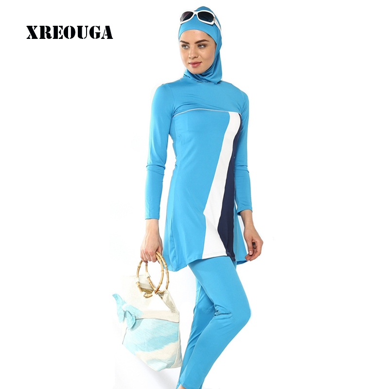 XREOUGA S 4Xl Jilbabs Abayas Plus Size Muslim Swimwear Modest Arabic Clothing Muslim Women Full Cover Islamic Swimsuit MS05