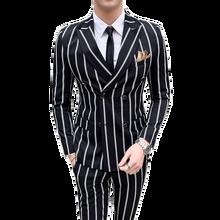 Лучший!  Костюмы в британском стиле мужской модный полосатый костюм из двух частей костюм (пиджак + брюки)  Луч