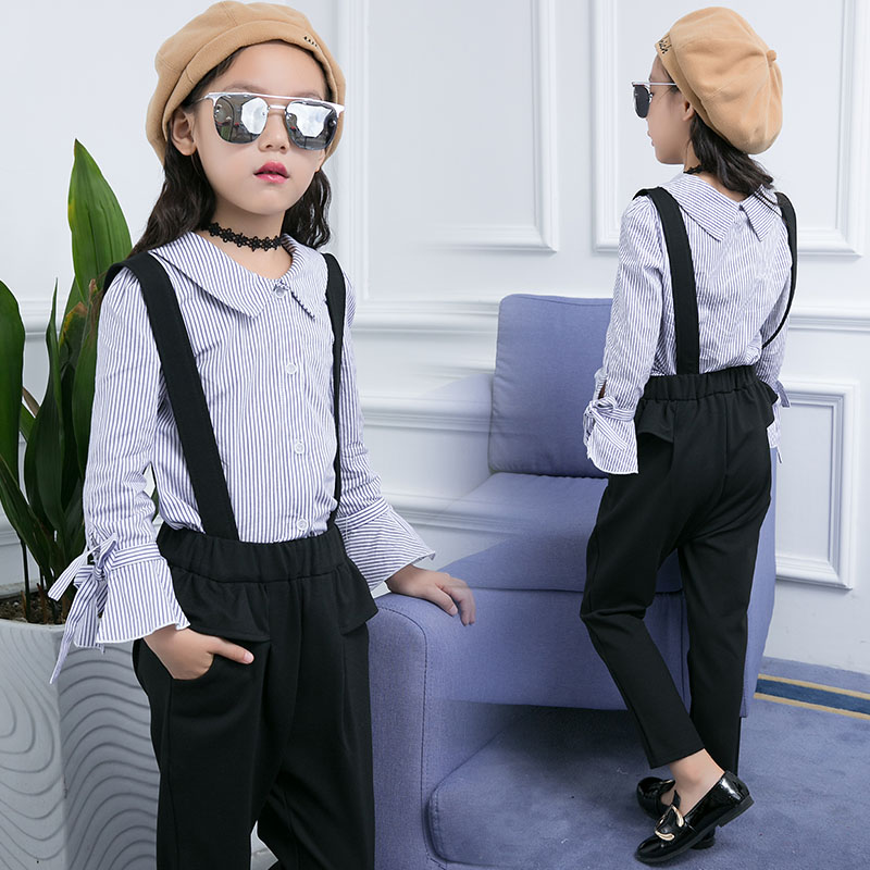 2Pcs Girls Clothing Set For Kids Outfits Autumn Teenage Girls Shirt + Pants Overalls Suits Children Long Sleeve Blouse Pants Set