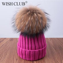 WISH CLUB Fashion Winter Hat For Women Solid Knitted Women's Hat Cotton Skullies Beanies Winter Cap Warm Pom Poms Hats For Girl