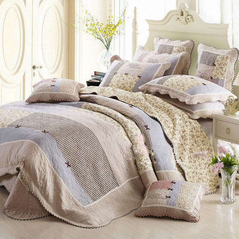 CHAUSUB bed linens Cotton Quilt Set 4pc Korea Duvet Cover Patchwork Bedspread Quilts Bed Cover King