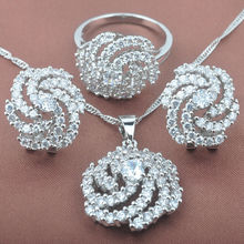 Delicate White Cubic Zirconia 925 Silver For Women Jewelry Sets Necklace Pendant Clip Earrings Rings Free Shipping TS003