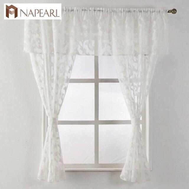 Corto cortina ventana de la cocina pequeño organza telas Jacquard ...