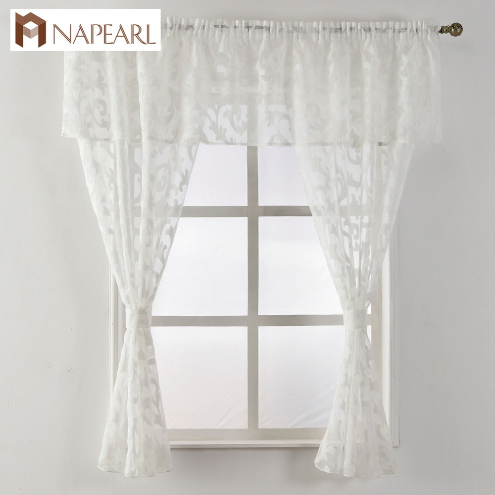 short curtain valance kitchen window small organza jacquard fabrics black white beige sheer. Black Bedroom Furniture Sets. Home Design Ideas