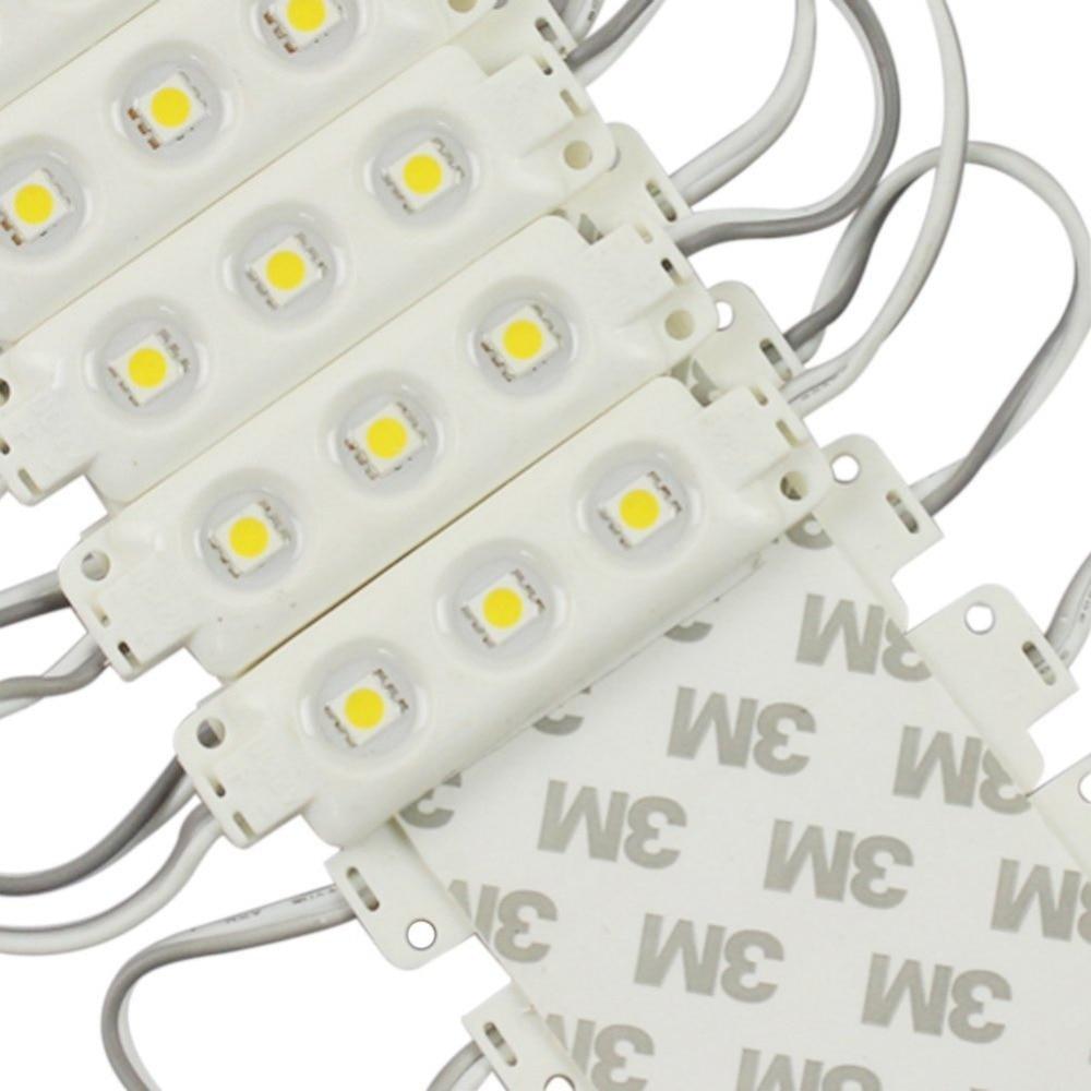 100 PCS High light Injection Molding Waterproof 3LED 5050 SMD Module Pure Warm <font><b>White</b></font> Decorative Light Lamp DC12V