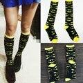 Envío gratis batman comic crew calcetines para las mujeres de moda patrón de diamante, skate hip hop negro amarillo B1117