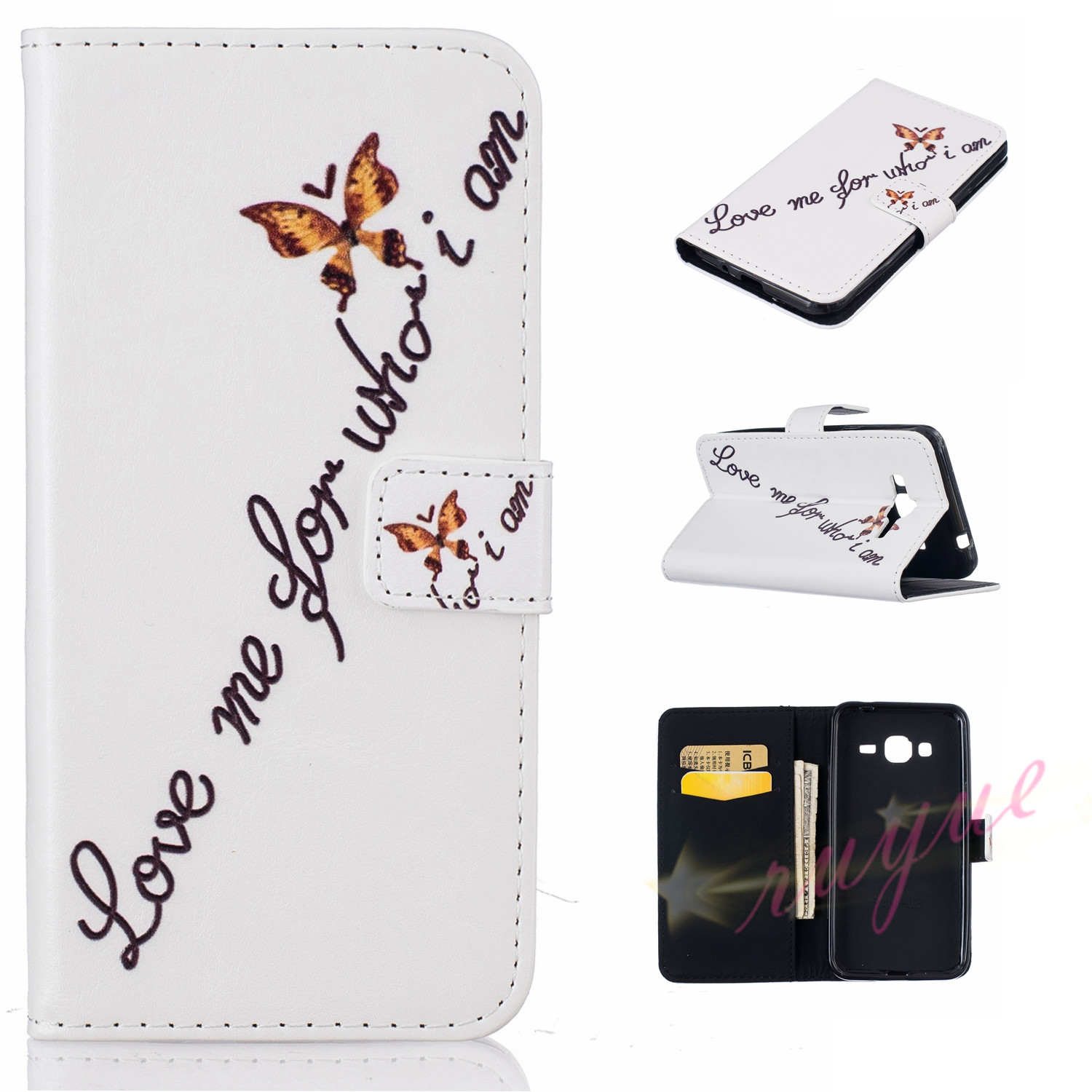 New Art Fashion For Samsung Galaxy J3 2016 J320 Cases Wallet Flip Cover PU Leather Card Slot Photo Frame Cover Bag Stand Capa