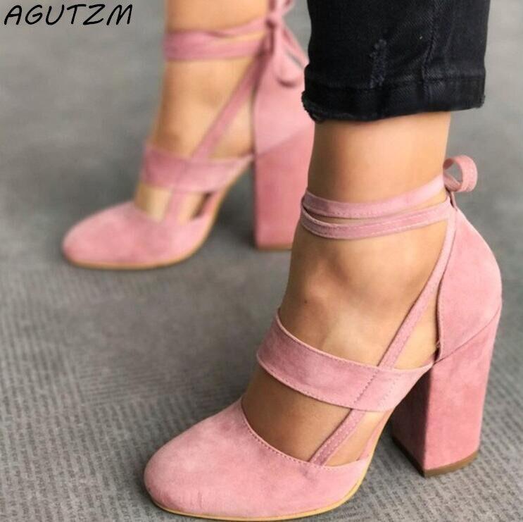 AGUTZM Female Shoes Ankle Strap High Heels Flock Cross Straps Ladies Thick  Heel 2018 Fashion Plus Size Women s Wedding Sandals - aliexpress.com -  imall.com 416a94024d75
