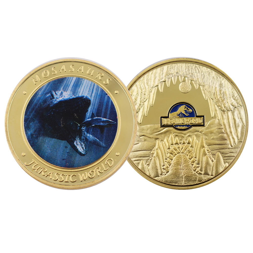 Jurassic World 24k Gold Plated Metal Coin Dinosaur Creative Animal Coin Gifts Home Decoration Accessories  Coins Collectibles
