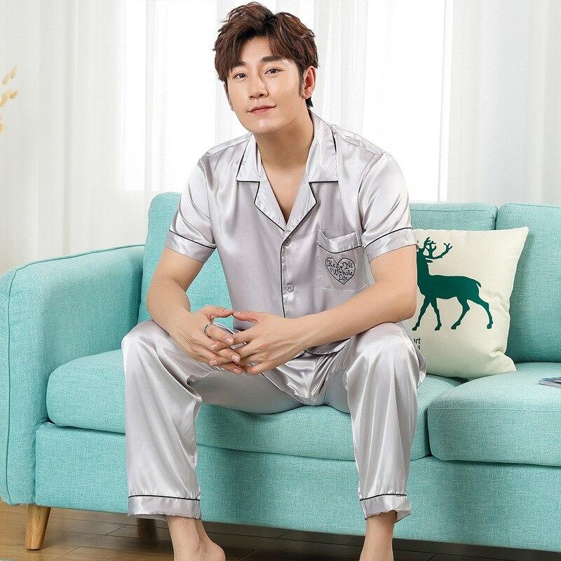 2019 Summer Couples Casual Pajama Sets Male Short Sleeve V-neck Collar T Shirt & Half Pants Men Cotton Sleepwear Suit Plus Size Underwear & Sleepwears