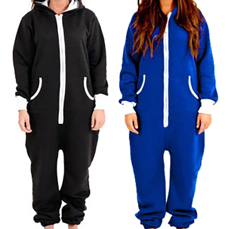 Winter Hooded Pajamas Set  Adult Onesie For Women Men Couple Long Sleeve Black Blue Pajamas Set One Piece Sleepwear