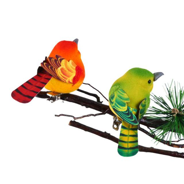 2pcs/Pack Cute Artificial Bird Home Table Garden Decoration Ornament Gift for Friend Cute Mini Foam Feather Bird Sparrow Tit 2