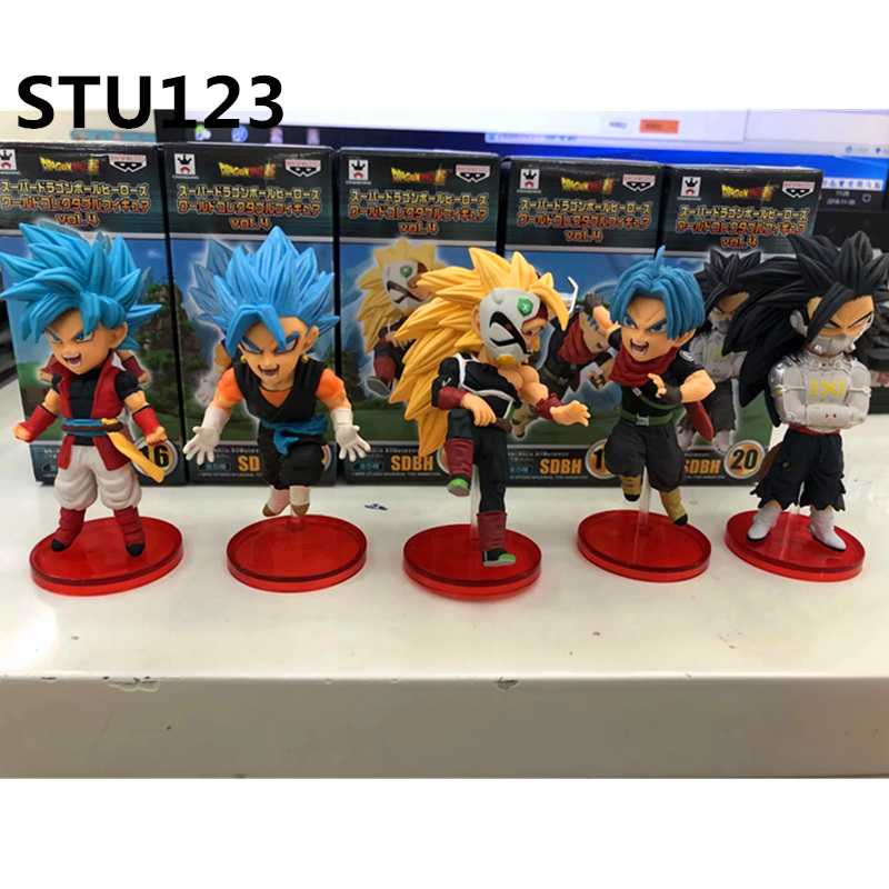 5Pcs/set Dragon Ball Z Torankusu Son Goku Gogeta Popular character combination PVC Action Figure Collectible Model Toy Box N622