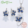 Silver Flower Jewelry Set  Bridal Wedding Jewelry Set Blue CZ Diamond Ring Earrings Pendant Set 925 Sterling Silver Jewelry Set
