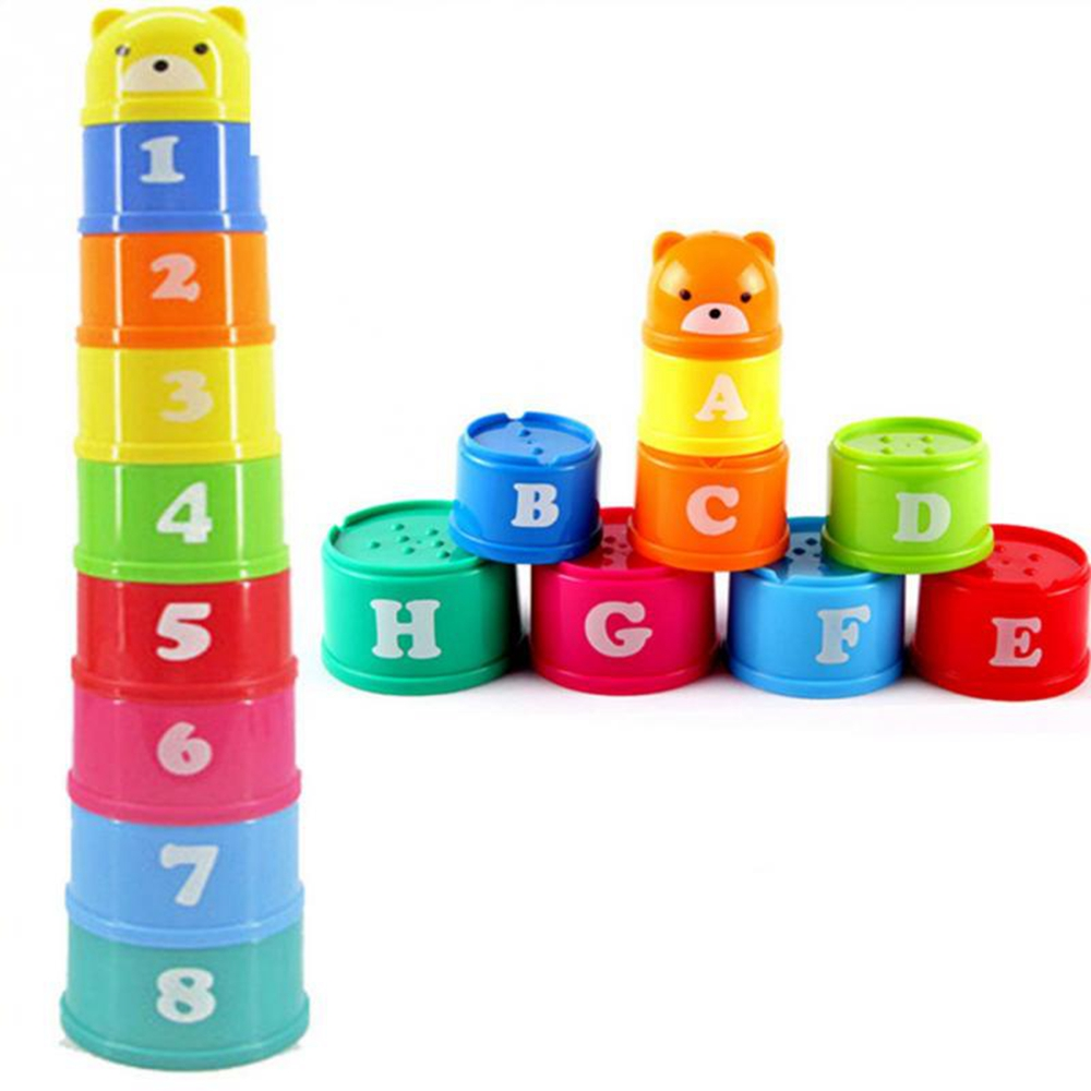 Excellent Baby Children Kids Educational Toy New Building Block Puzzle Cube Figures Letters Folding Cup Pagoda Gift 9Pcs/set