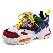 купить!  Плюс Размер 42 43 Модные женские кроссовки на толстой подошве женские туфли на платформе Коренастый