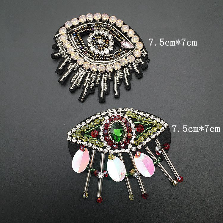 1pcs Sequined eyes Patch for Clothes Sewing on Rhinestone Beaded Applique  for Jackets Jeans Bags Shoes 05ca930a3082