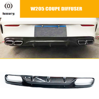 C43 Carbon Fiber AMG Style Rear Bumper Lip Diffuser for Benz W205 C205 Coupe 2DR C200 C220 C300 C43 with AMG Package 15 22