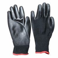 12 Pairs M L XL Black Nylon PU Coated Work Gloves Safety Coating Builders Grip Gloves