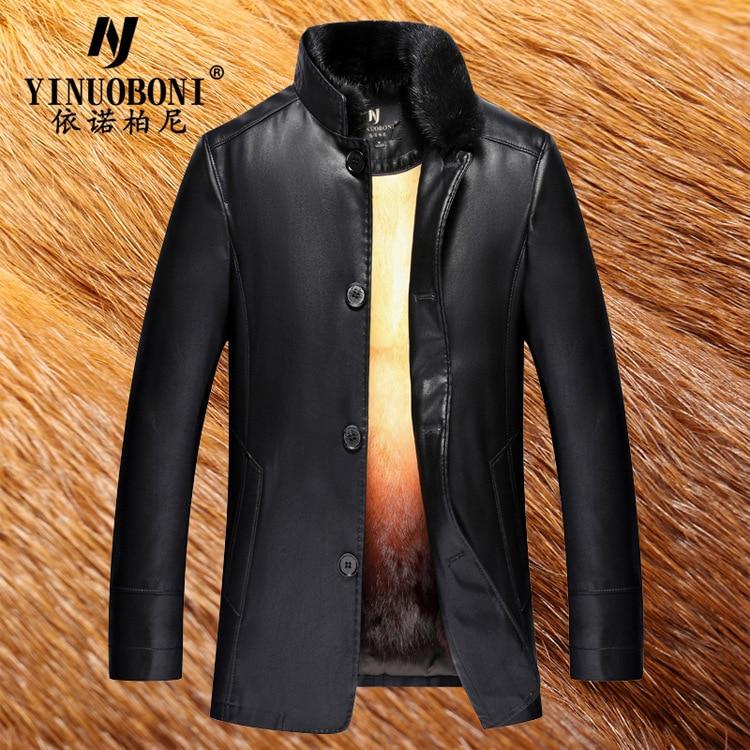 Véritable Veste En Cuir Hommes Vêtements D'hiver Chaud Hommes En Cuir Veste Longue Section Veste Hommes Vison Manteau Blouson Cuir Homme LJ8906